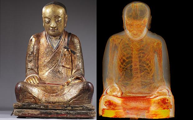 Scan Reveals 1,000 Year-Old Monk in Statute