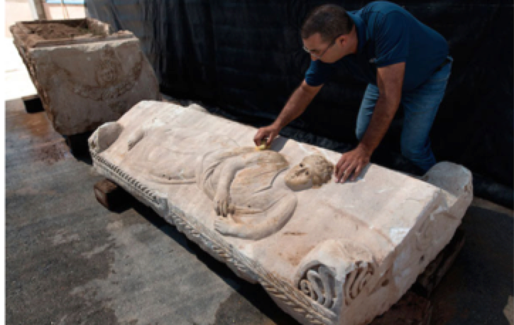 Unearthed Roman Sarcophagus Hidden by Workers in Israel