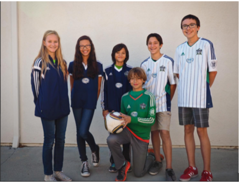 PSC players pictured  from left to right: Ashley Arribas, Gabriela Duran, Eric Stratford , Griffin Perez, Nic Ochoa, and James Salcedo.
