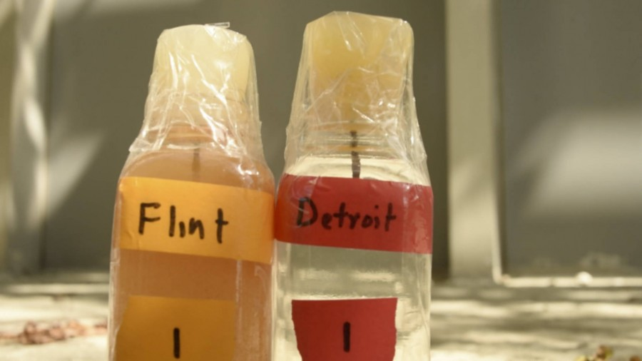 This photo shows the difference between Flint, Michigan's water and Detroit, Michigan's water.