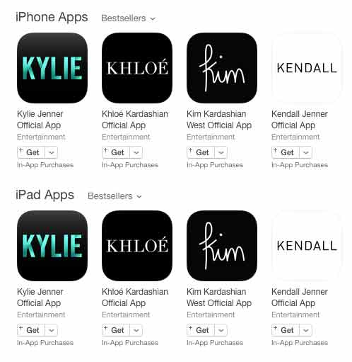 Kardashian and Jenner Sisters Launch Apps