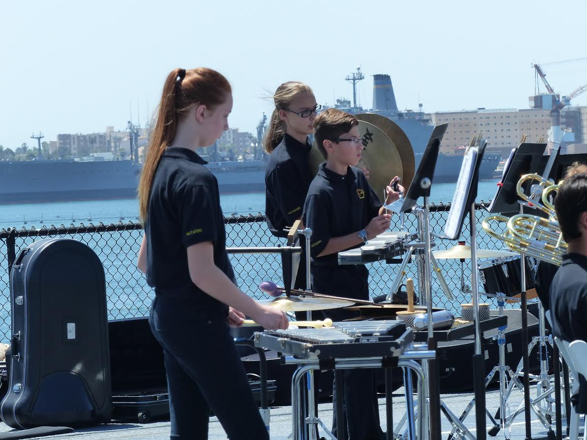 BYMS band percussion playing on the USS Midway.