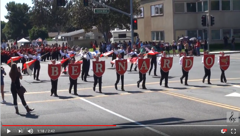 BYMS Band and Color Guard Perform at the Tustin Tiller Days Parade