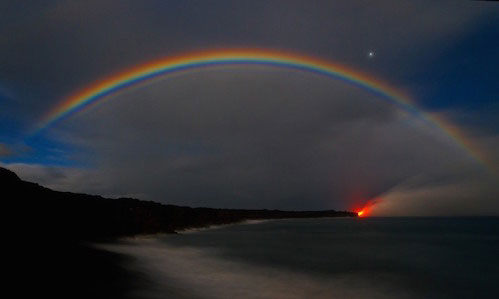 Moonbow at Kalpana Coastline, Big Island, Hawaii
